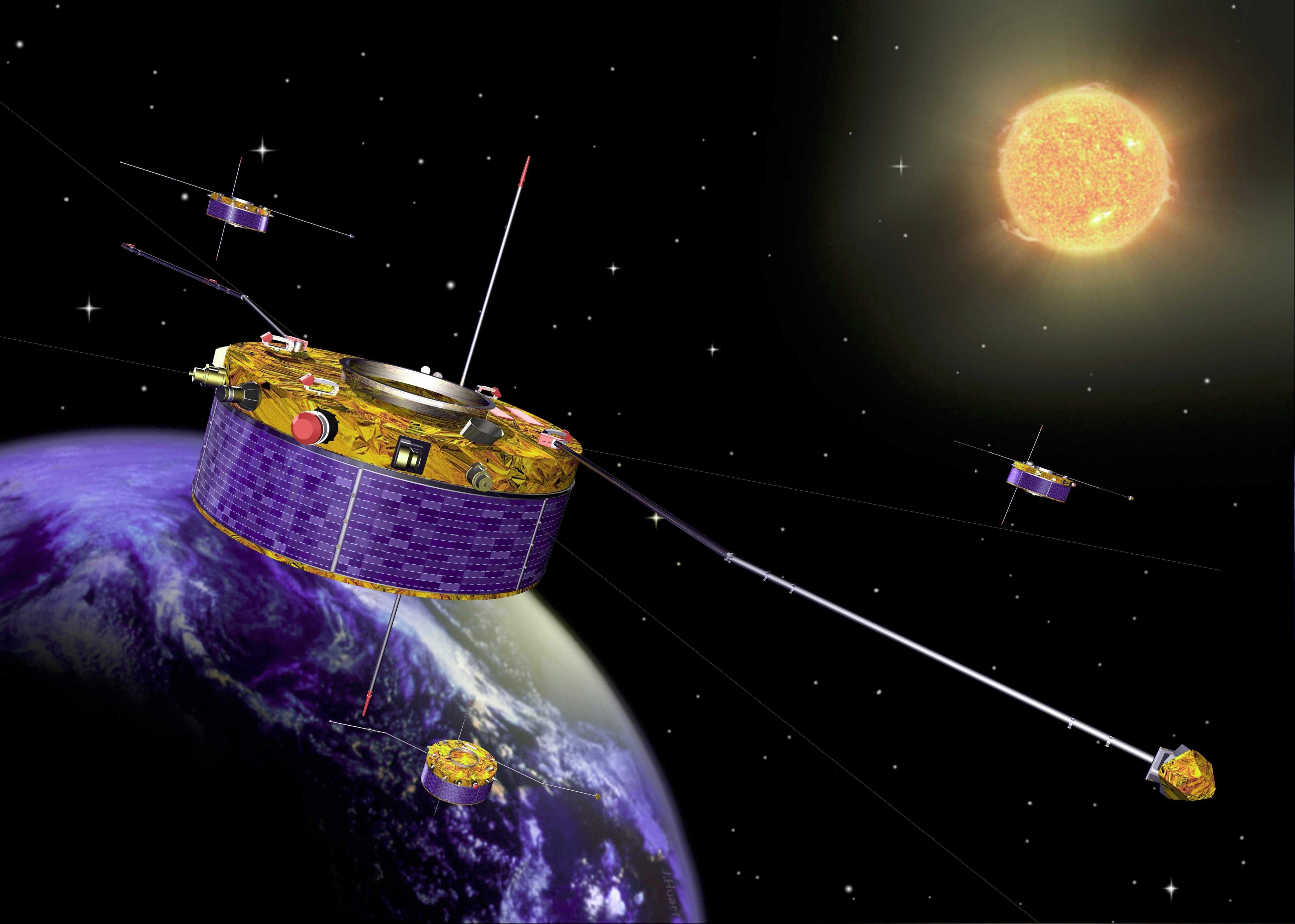 ESAs Cluster mission comprises four identical spacecraft flying in formation 19,000 to 119,000 km (11,800 to 74,000 miles) above Earth. Courtesy of ESA.