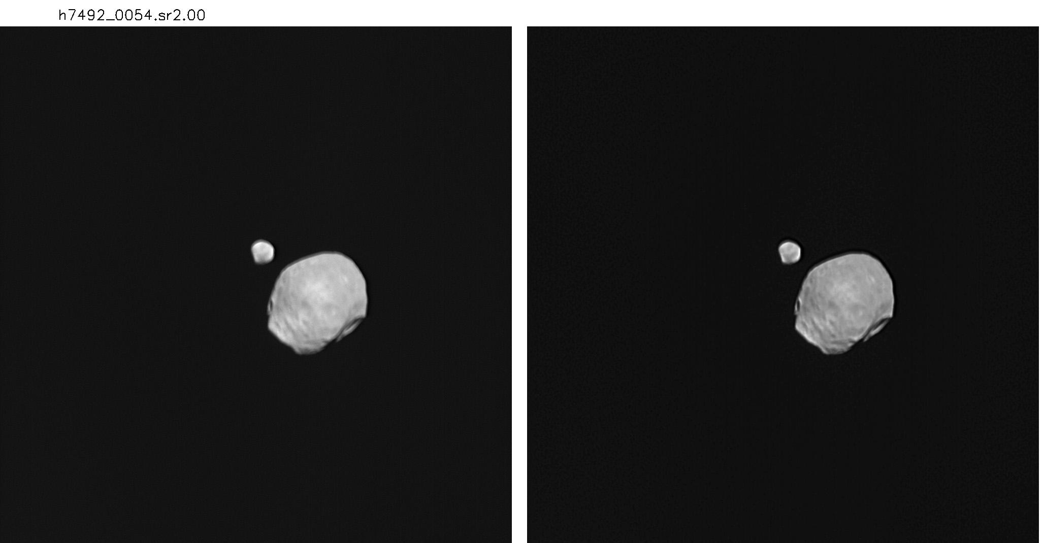 Phobos und Deimos gemeinsam: Roh- und bearbeitetes Bild, Quelle: ESA/FU Berlin