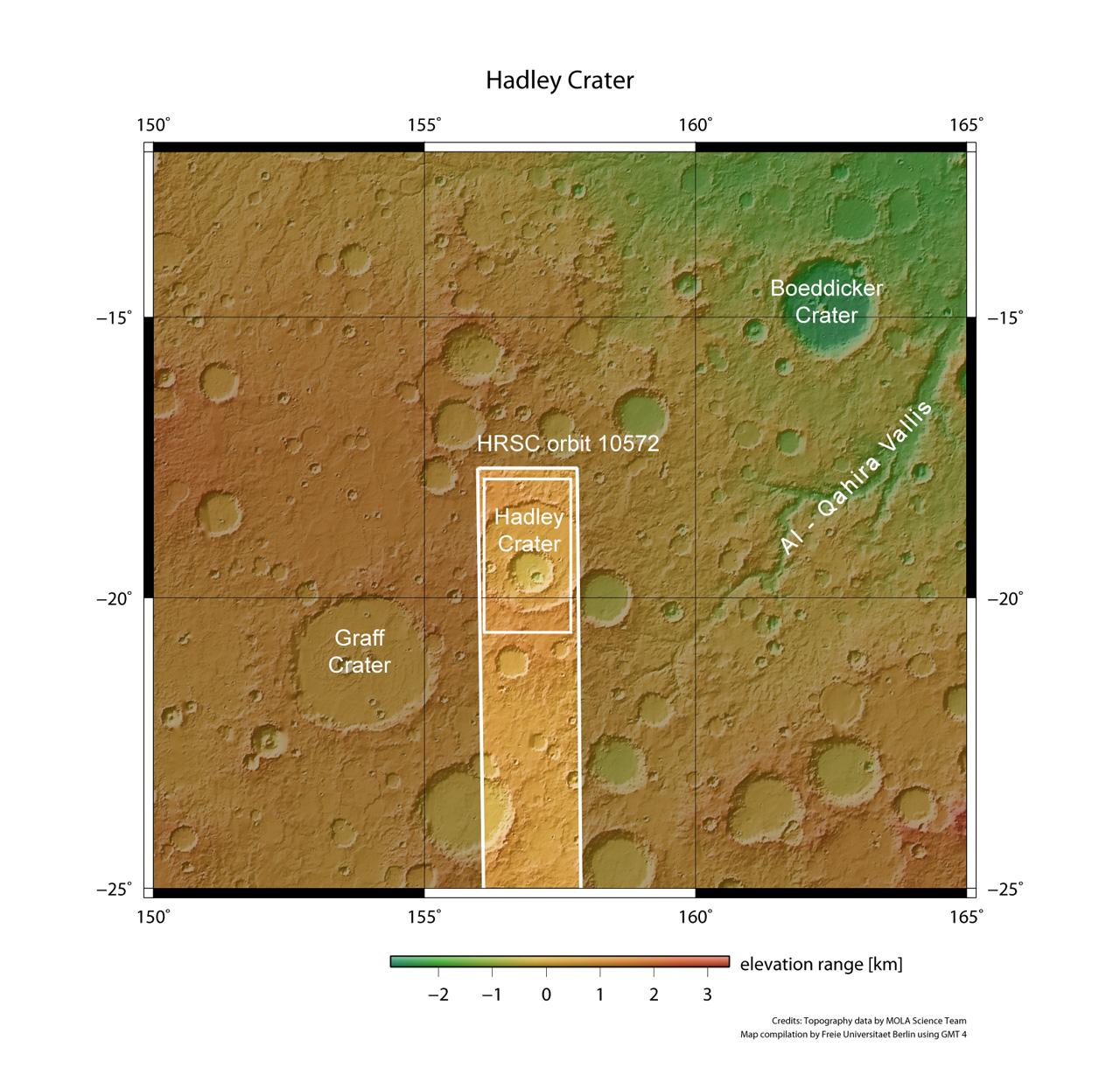 Hadley kraterets omgivelser