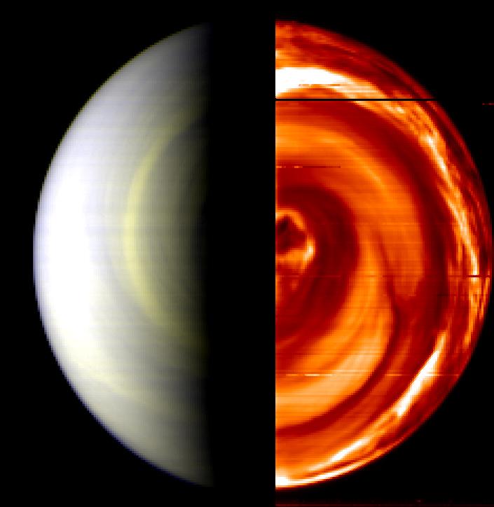 Composite, false-colour view of Venus south pole captured by VIRTIS 12 April 2006 onboard Venus Express.